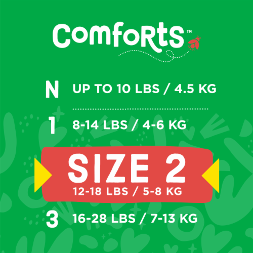Comforts™ Size 2 Day or Night Diapers Perspective: top