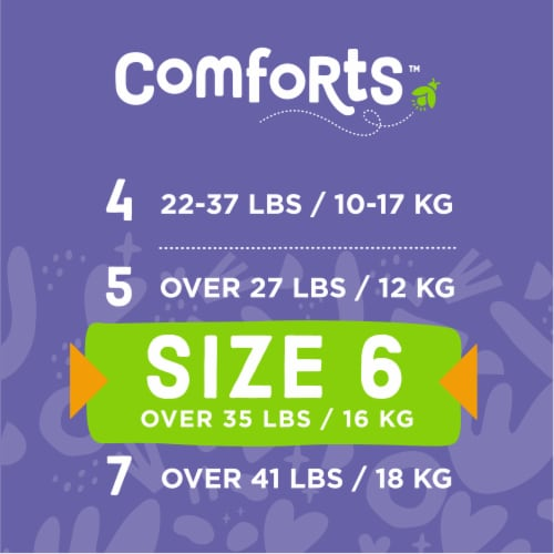 Comforts™ Size 6 Day or Night Diapers Perspective: top