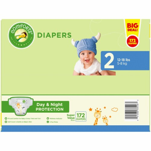 Comforts™ Day & Night Protection Size 2 Baby Diapers Perspective: top