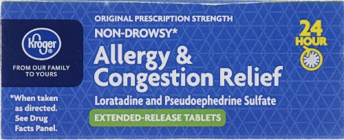 Kroger® 24 Hour Allergy & Congestion Relief Tablets Perspective: top