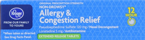 Kroger® 12 Hour Allergy & Congestion Relief Tablets Perspective: top