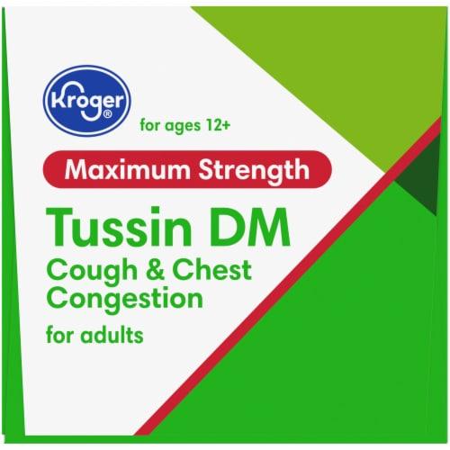 Kroger® Tussin DM Raspberry & Menthol Flavor Cough Suppressant & Expectorant Liquid Perspective: top