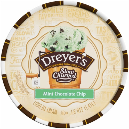 Dreyer's/Edy's Slow Churned Mint Chocolate Chip Light Ice Cream Perspective: top