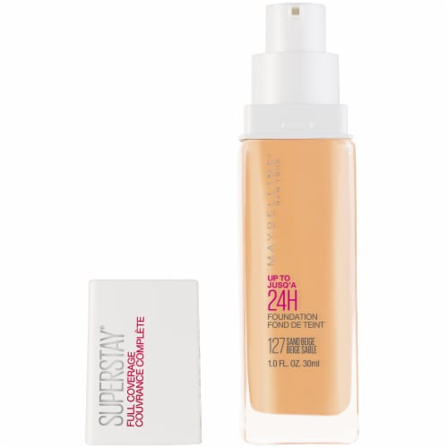 Maybelline Super Stay Full Coverage Sand Beige Liquid Foundation Perspective: top