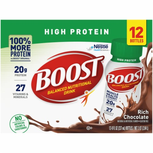Boost High Protein Rich Chocolate Nutritional Drinks Perspective: top