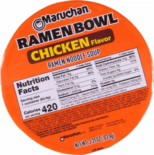 Maruchan Chicken Flavor Ramen Noodles With Vegetables Bowl Perspective: top