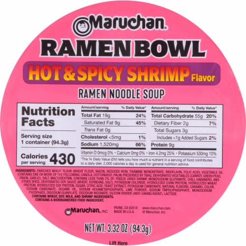 Maruchan® Hot & Spicy Ramen Noodles With Shrimp and Vegetables Bowl Perspective: top
