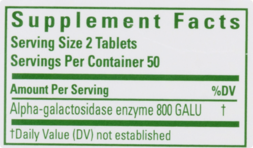 Beano Ultra 800 Food Enzyme Dietary Supplement Tablets 100 Count Perspective: top