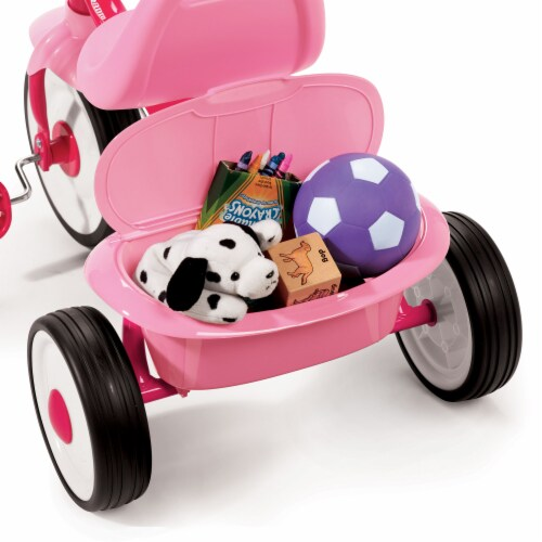 Radio Flyer 415PS Kids Readily Assembled Fold 2 Go Trike with Storage Bin, Pink Perspective: top