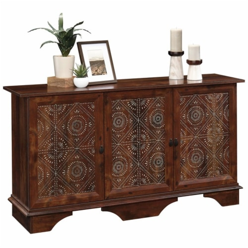 Sauder Viabella Contemporary Wood Buffet and Sideboard Table in Curado Cherry Perspective: top
