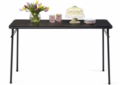 Sudden Comfort Vinyl Rectangular Folding Table - Black Lace Perspective: top