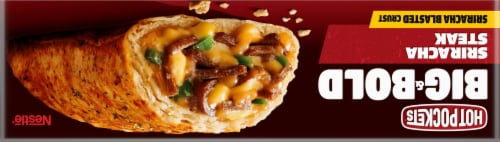 Hot Pockets Frozen Snack Big & Bold Sriracha Steak Frozen Sandwich Perspective: top