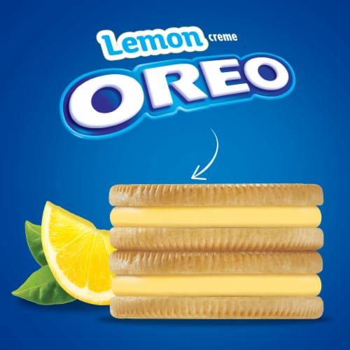 Oreo Lemon Creme Sandwich Cookies Family Size Perspective: top