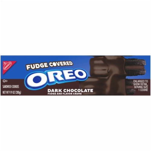 Oreo Fudge Covered Dark Chocolate Sandwich Cookies Perspective: top