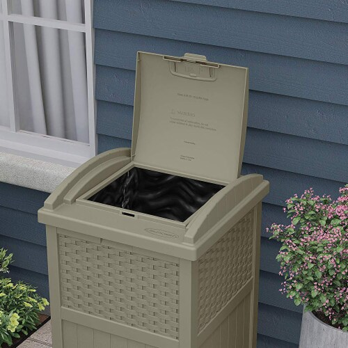 Suncast Wicker Resin Outdoor Hideaway Trash Can with Latching Lid, Dark Taupe Perspective: top