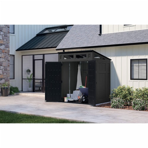 Suncast Modernist 6 x 5 Foot Outdoor Storage Shed, 200 Cubic Feet, Peppercorn Perspective: top