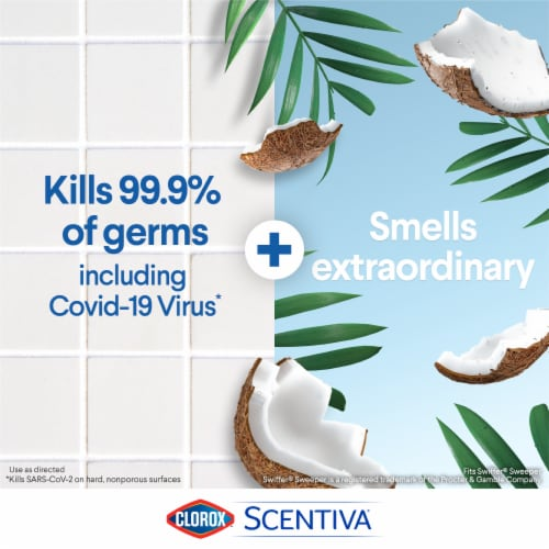 Clorox Scentiva Pacific Breeze & Coconut Disinfecting Wet Mopping Cloths Perspective: top