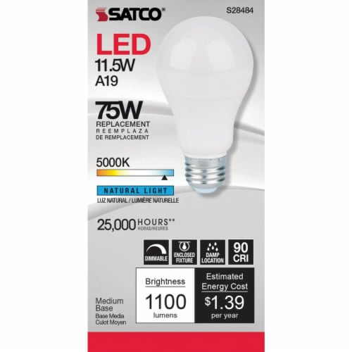 Satco 75W Equivalent Natural Light A19 Medium Dimmable LED Light Bulb S8484 Perspective: top