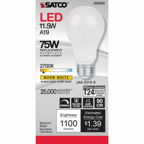 Satco 75W Equivalent Warm White A19 Medium Dimmable LED Light Bulb S8650 Perspective: top