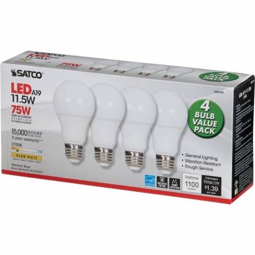 Satco 75W Equivalent Warm White A19 Medium LED Light Bulb (4-Pack) S28769 Perspective: top