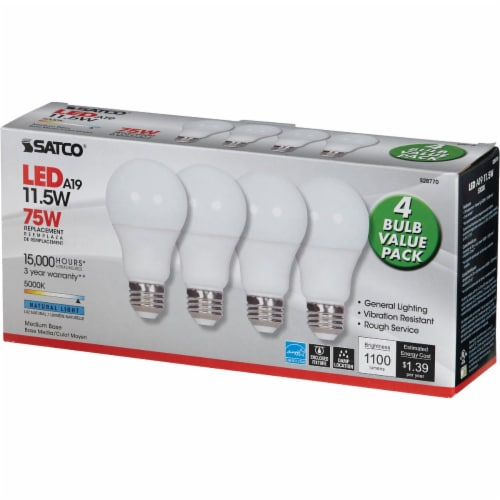 Satco 75W Equivalent Natural Light A19 Medium LED Light Bulb (4-Pack) S28770 Perspective: top