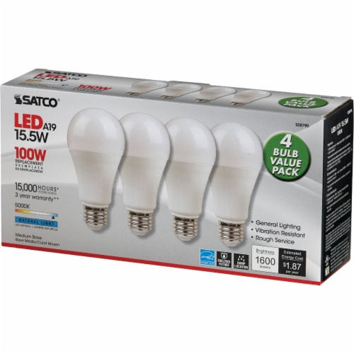 Satco 100W Equivalent Natural Light A19 Medium LED Light Bulb (4-Pack) S28790 Perspective: top