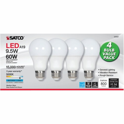 Satco 60W Equivalent Daylight A19 Medium LED Light Bulb (4-Pack) S39597 Perspective: top