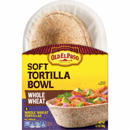 Old El Paso Whole Wheat Soft Tortilla Taco Bowls 8 Count Perspective: top