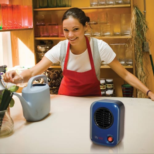 Lasko 102 MyHeat Portable Personal Electric 200W Ceramic Space Heater, Blue Perspective: top