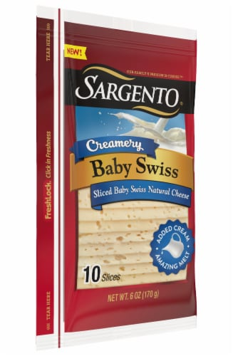 Sargento Creamery Baby Swiss Cheese Slices Perspective: top
