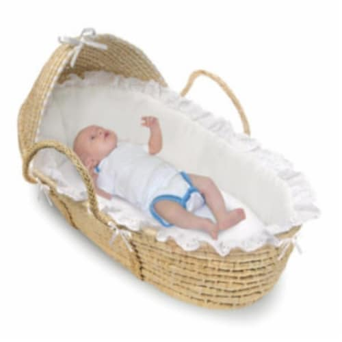 NATURAL Moses Basket with Hood and White Bedding Perspective: top
