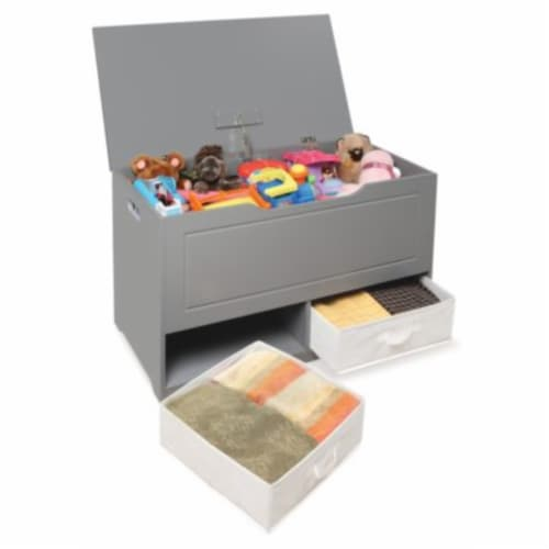 Up and Down Toy and Storage Box with Two Baskets - Gray Perspective: top