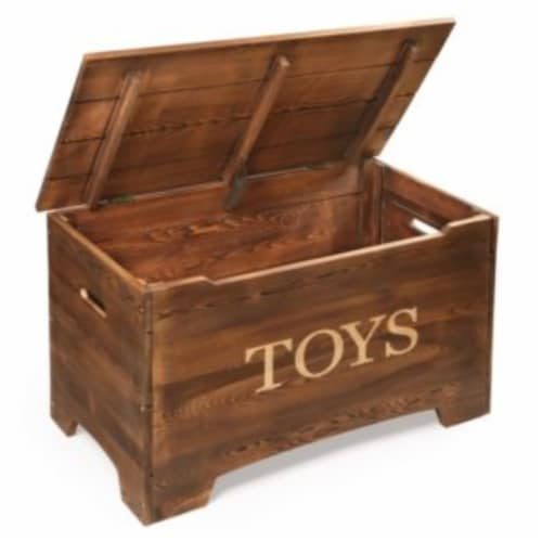 Solid Wood Rustic Toy Box - Caramel Brown Perspective: top