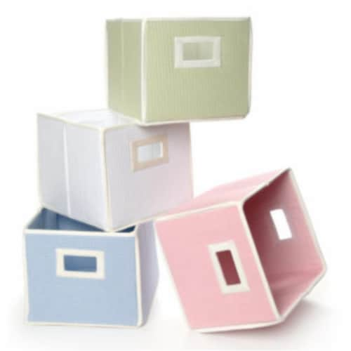 Folding Nursery Basket/Storage Cube - Sage Waffle Perspective: top