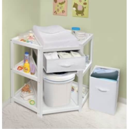 Diaper Corner Changing Table w/Hamper and Basket - White Perspective: top