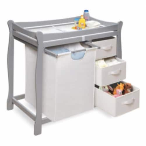 Sleigh Style Changing Table with Hamper/3 Baskets - Gray Perspective: top