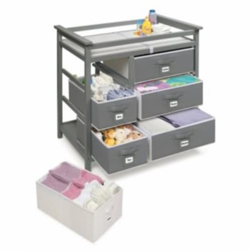 Modern Baby Changing Table with Six Baskets - Gray Perspective: top