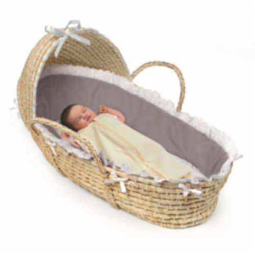 NATURAL Hooded Moses Basket - Gray Bedding Perspective: top