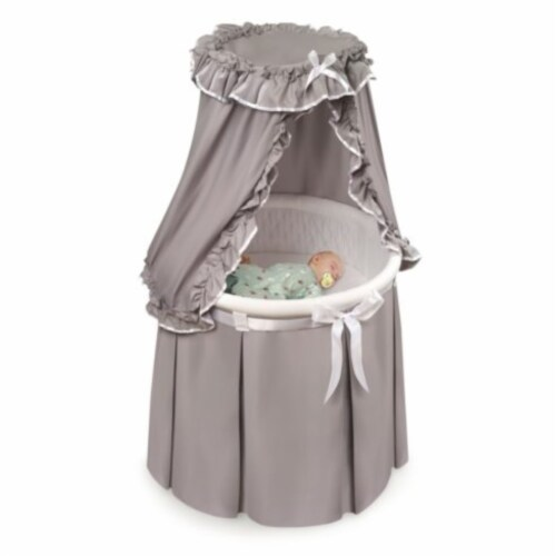 Empress Round Baby Bassinet with Canopy - Gray/White Perspective: top