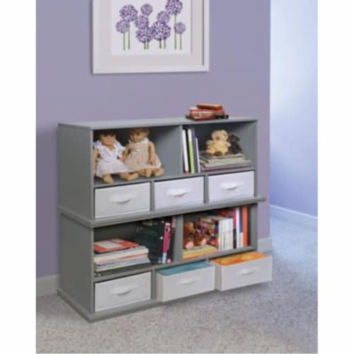 Shelf Storage Cubby with Three Baskets - Gray Perspective: top