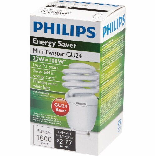 Philips Energy Saver 100W Equivalent Warm White GU24 Base Spiral CFL Light Bulb Perspective: top
