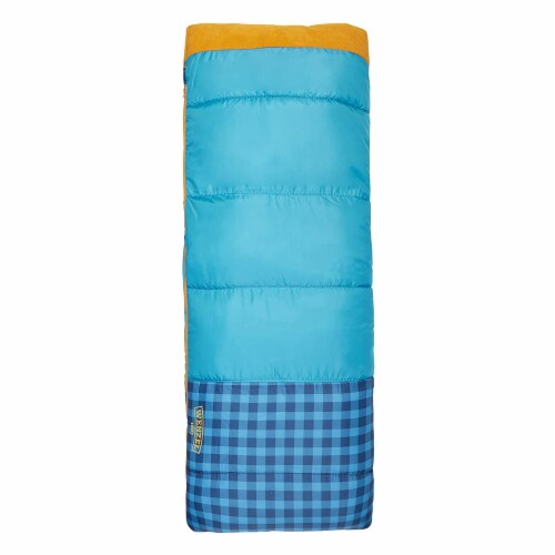Wenzel Sapling 40 - 50 Degree Fahrenheit Kids Camping Sleeping Bag, Youth (Blue) Perspective: top