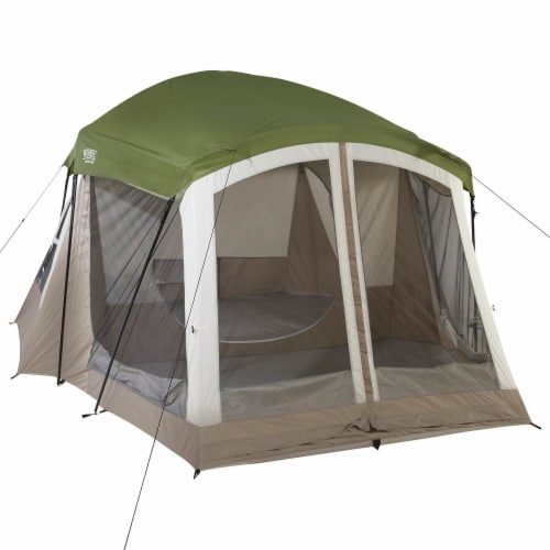 Wenzel Klondike Large Outdoor 8 Person Camping Tent with Screen Room, Green Perspective: top