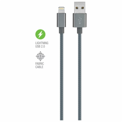 iLive Fabric Lightning Charging Cable - Gray Perspective: top