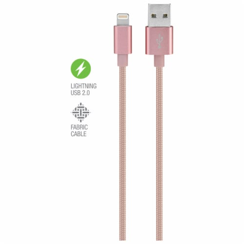 iLive Fabric Lightning Charging Cable - Pink Perspective: top
