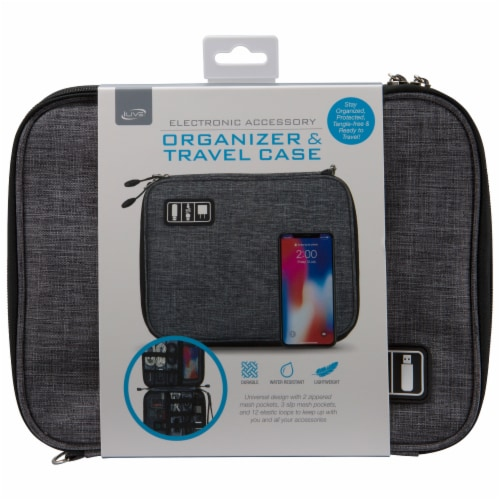 iLive IACK350G Electronic Accessory Organizer & Travel Case Perspective: top