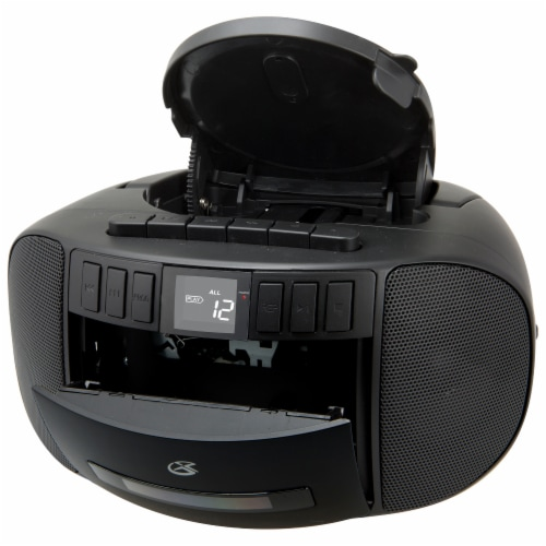 GPX CD FM Cassette Boombox - Black Perspective: top