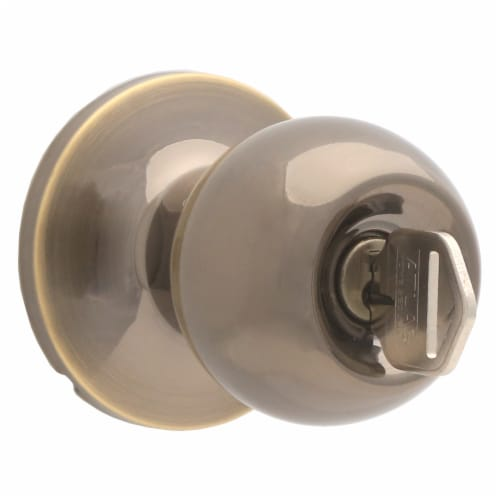 Atlas Ball Entry Door Knob Lock - Antique Brass Perspective: top