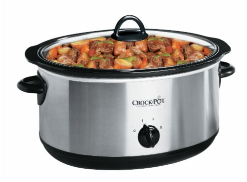 Crock-Pot Classic Silver & Black Stainless Steel Slow Cooker Perspective: top