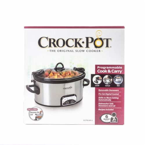Crock-Pot® Programmable Slow Cooker - Silver/Black Perspective: top